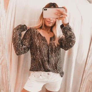 American eagle geo print semi sheer blouse